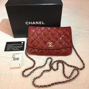 Chanel Quilted Red Patent Leather Wallet on Chain